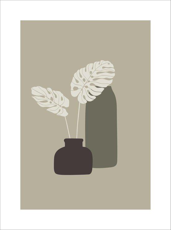 Poster print, minimalistisch design | 30x40 cm | Wanddecoratie | Bloemen in vaas | Scandinavisch design