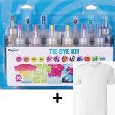 DIY 12 Kleuren Tie Dye + FRUIT OF THE LOOM T-Shirt - Mega Kit - Complete verfset voor je kleding en textiel - Hoogwaardige kwaliteit - Kindvriendelijk - Kleuren in de beschrijving -Incl. handschoenen, elastiekjes en Tafel Cover- Doe het zelf - DIY
