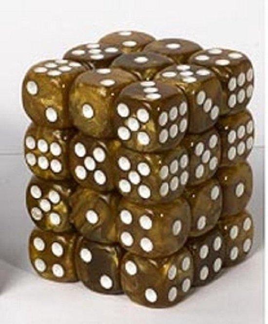 Afbeelding van het spel Dice cube 12mm - Marbled Dark Brown (36)