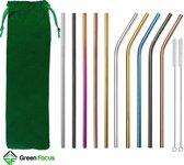 Set van 10 Herbruikbare Stalen Kleuren Rietjes - Roestvrijstalen (RVS) Rietjes - Drink rietjes beker - 5 gebogen Rietjes & 5 rechte Rietjes -  Incl. 2 Schoonmaakborstels en Linnenzakje - Duurzaam en Stijlvol - Milieuvriendelijk