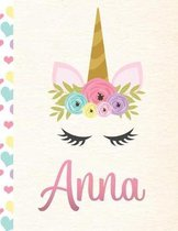 Anna: Personalized Unicorn Primary Handwriting Notebook For Girls With Pink Name - Dotted Midline Handwriting Practice Paper