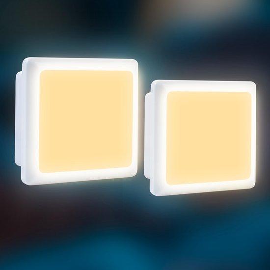 2 x LED Nachtlampje Stopcontact - Dag en Nacht Sensor - Warm Wit - Kinderen & Baby - Babykamer - Nachtlamp