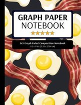 5x5 Graph Ruled Composition Notebook: 100 Pages, 5x5 Graphing Grid Paper, Bacon and Eggs (Extra Large, 8.5x11 in.)