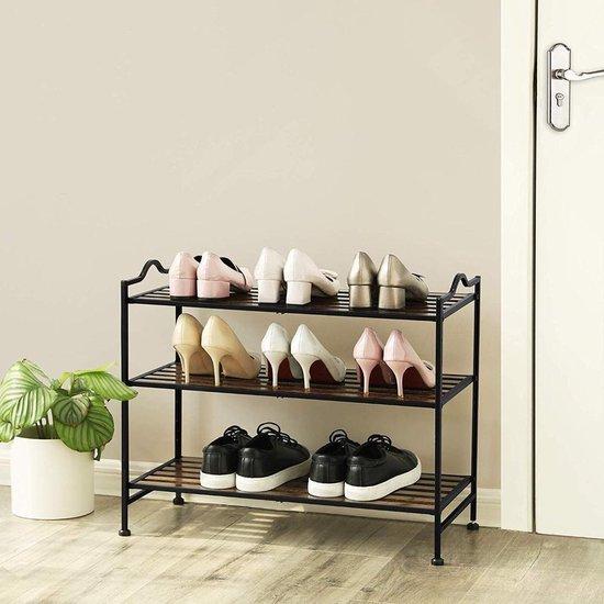 Staand Schoenenrekje met 3 Niveaus voor 9 à 10 paar Schoenen - Verstelbaar qua Hoogte - 68.5x31x56 cm - Rek voor Schoenen