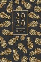 Agenda: Semainier - Petit Format A5 - Ananas Or Noir - Calendrier Janvier � D�cembre