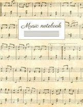 Music notebook: wide staff manuscript paper - 8.5x11 - 120 pages - 8 staves per page - easy to write on - perfect for learning