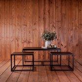 Urban Living Salontafel & 2 Bijzettafels - Metalen frame - Inschuifbaar - Industrieel design - Zwart - 3-delig