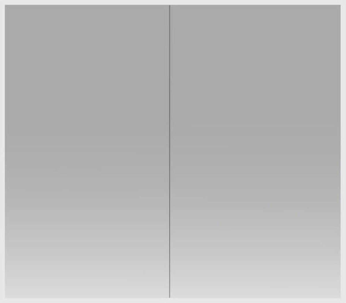 Spiegelkast Quatro 80x70x13cm Aluminium Geintegreerde LED Verlichting Sensor Lichtschakelaar Stopcontact Glazen Planken