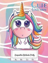 Composition Notebooks Pretty: 50 Sheets Dotted Midline Exercise Book - 100 Story Pages - Cute Unicorn Notebooks