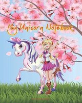 My Unicorn Notebook: Composition Notebook Wide College Ruled, Japanese Anime Unicorn Cover Back To School Kids Student Gift, Cherry Blossom