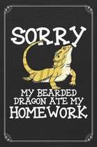 Sorry My Bearded Dragon Ate My Homework: Snake Reptile Funny 120 Page Blank Lined Notebook Journal