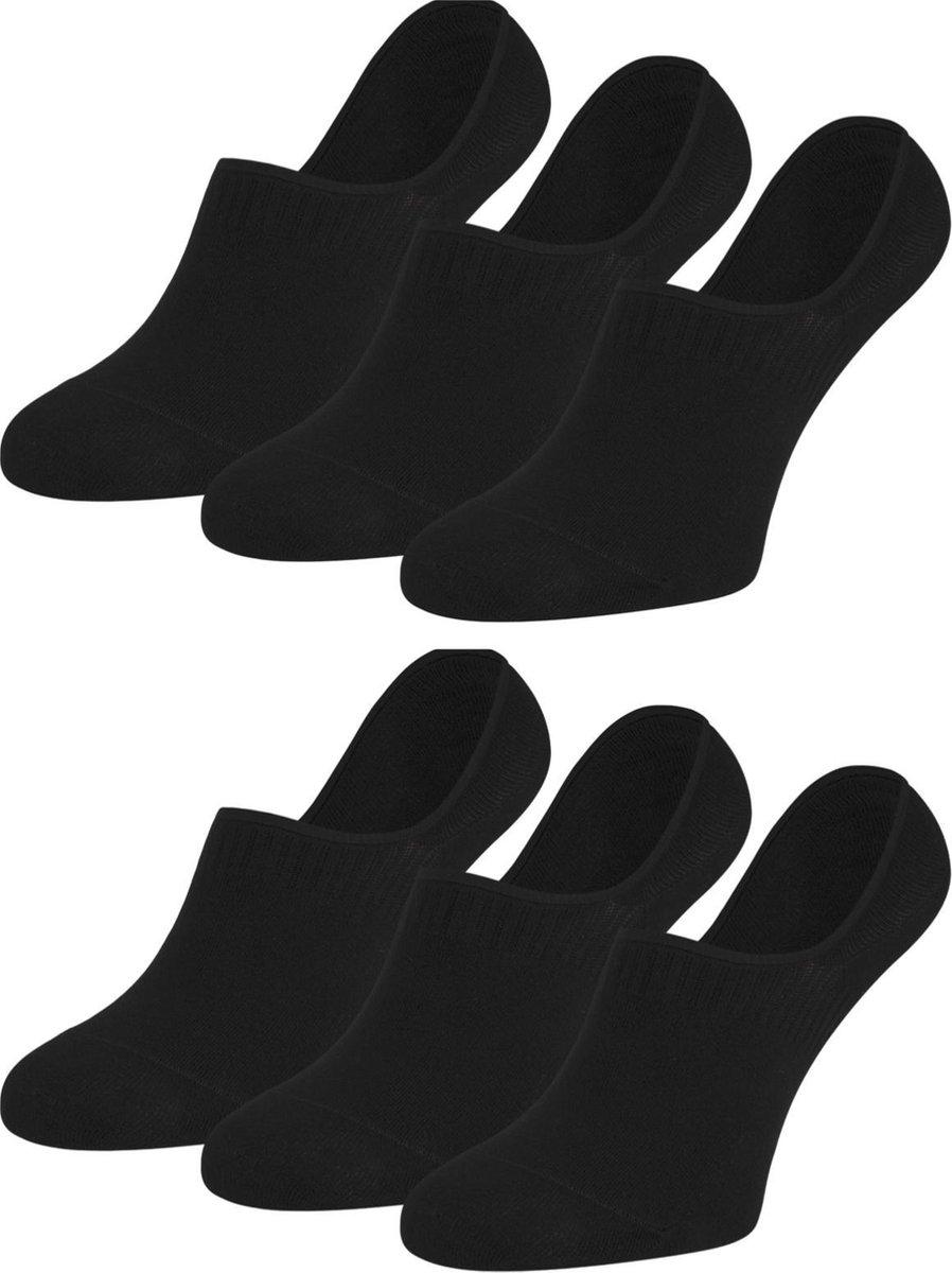 Invisible sokken heren met siliconen hiel 6 paar - Zwart - No Show Sokken Heren - Maat 40/46