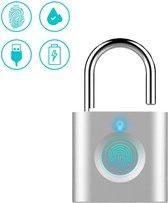 Qproducts Hangslot met Vingerafdruk  - Kettingslot  - USB - Zilver