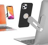 Magnetische telefoonhouder voor laptop. Aluminium computer uitbreiding beugel met draaibare hoek aanpassing, opvouwbaar, telefoon houder standaard voor laptop hetzelfde scherm voor alle slimme telefoons.