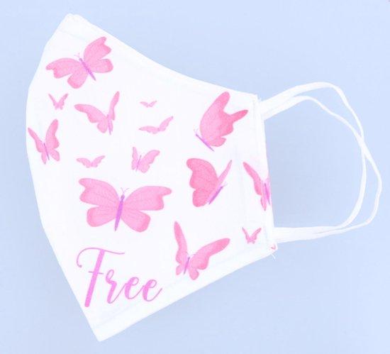 Accessoires Mondkapje uitwasbaar van katoen 2 laags met elastiek vlinders