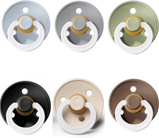 Product: Bibs fopspeen 6-18 maanden|Set 6 stuks| Glow in the dark; Sage, Black, Cloud, Baby Blue, Dark oak, Vanilla|Maat 2|T2, van het merk BIBS