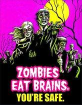 Wandbord - Zombies Eat Brains You're Safe - Multi