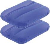 2x Opblaasbare kussentjes blauw 28 x 19 cm - Reiskussens - Opblaasbare kussens voor onderweg/strand/zwembad