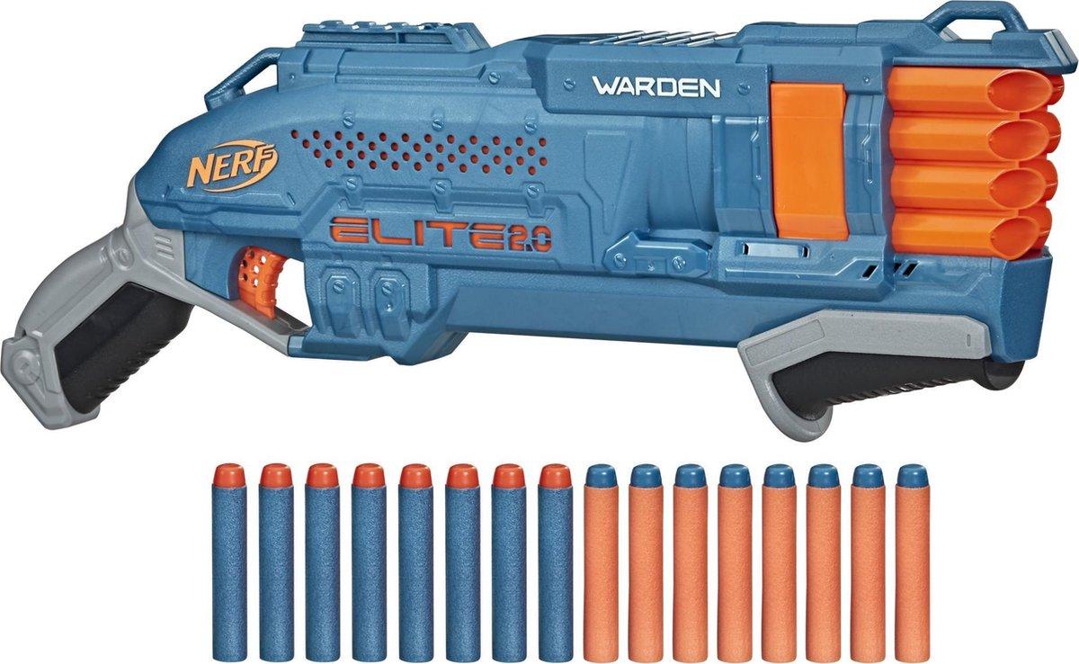 NERF blaster Elite 2.0 Warden DB 8 junior blauw/oranje 17 delig