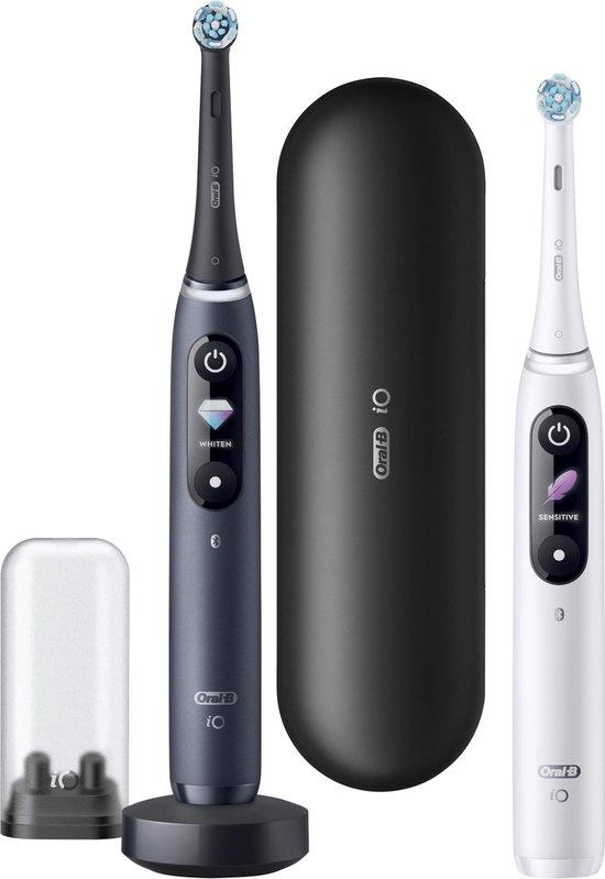 Oral-B iO 8n Wit en Zwart - Elektrische Tandenborstel met revolutionaire magnetische technologie Powered By Braun - Duo pack