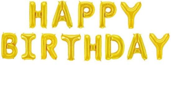 Happy Birthday Folie Ballon Goud Slinger Feestversiering Decoratie