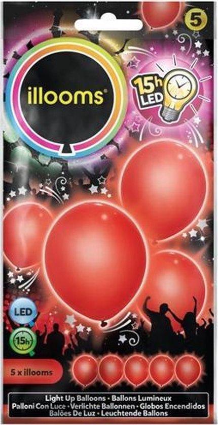 Illooms Ballonnen Rood met LED Licht 5 Stuks