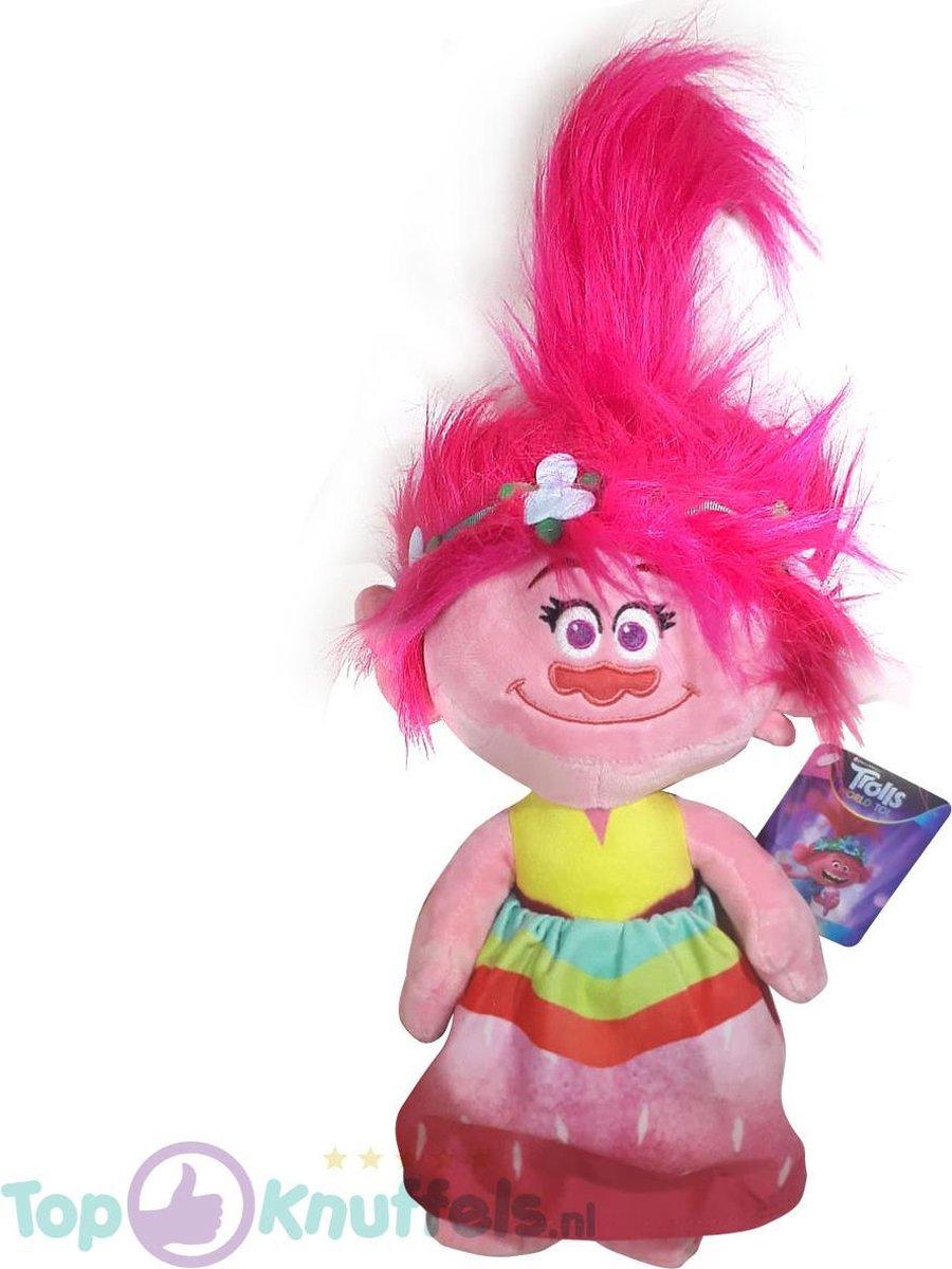 Poppy Trolls Pluche Knuffel 42 cm | Trolls Wereldtour | Trolls World tour | Trols Plush | Poppie Regenboog Jurkje