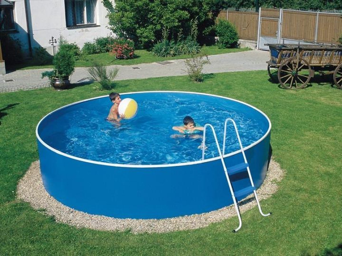 Azuro staalwand zwembad 2,4 x 0,9 m blauw/wit|inclusief liner en skimfilter