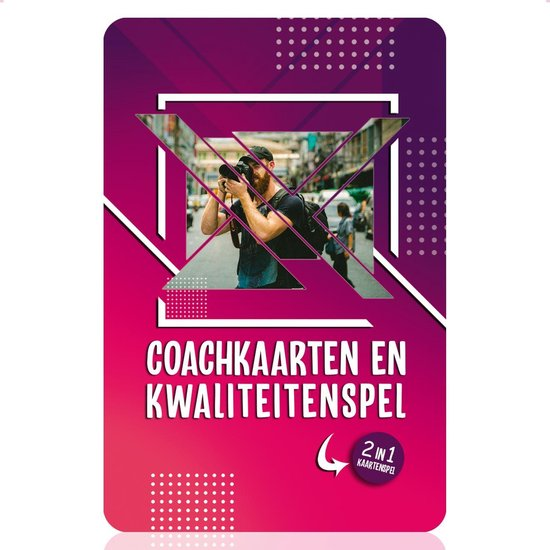 Afbeelding van het spel 2-in-1 Coachkaarten en Kwaliteitenspel - Associatiekaarten en Complimentenspel - Coachingskaarten - Kwaliteiten Kaartspel - Gespreksstarter - Inspiratiekaarten - Complimenten Kaartjes - Gesprekskaarten voor een Openhartig Gesprek