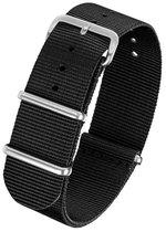 Horlogeband Nato Strap - Zwart - 22mm