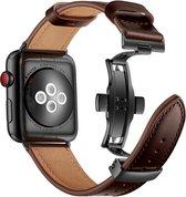 Apple Watch 44MM / 42MM Bandje Echt Leer met RVS Vlindersluiting Bruin
