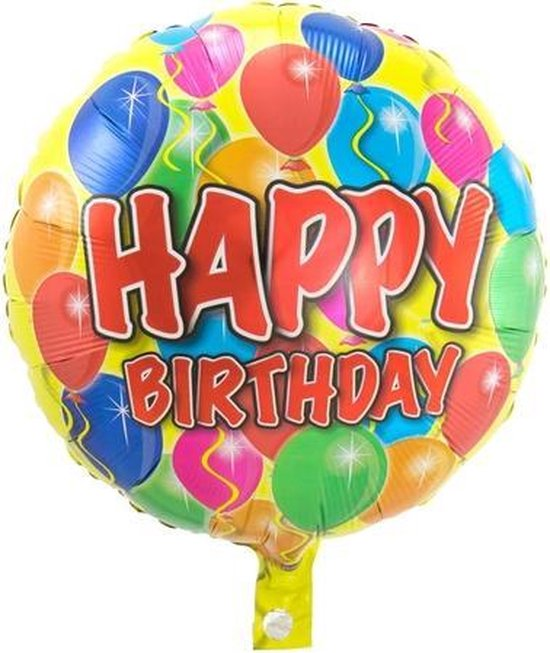 Folie cadeau sturen helium gevulde ballon Gefeliciteerd/Happy Birthday ballonnen 45 cm - Folieballon verjaardag versturen/verzenden