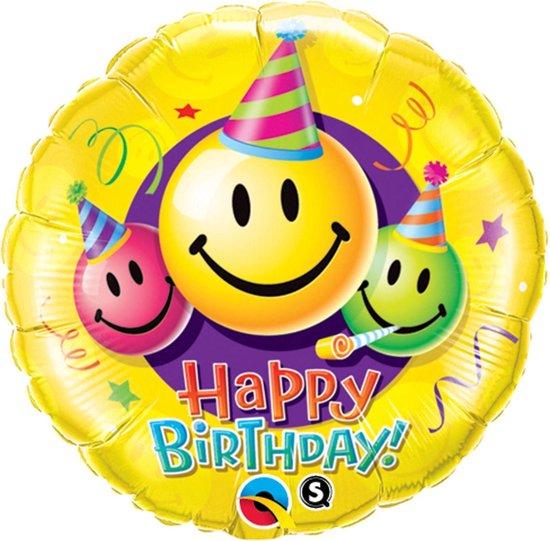 Folie cadeau sturen helium gevulde ballon Happy Birthday smiley 45 cm - Folieballon verjaardag versturen/verzenden - Emoticons/emojis