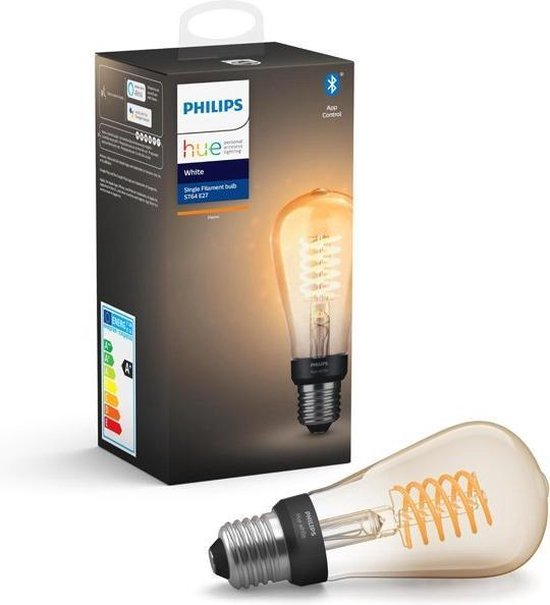 Philips Hue Filament Lichtbron E27 ST64 Edison - White - Ø 6 cm - 7W - Bluetooth