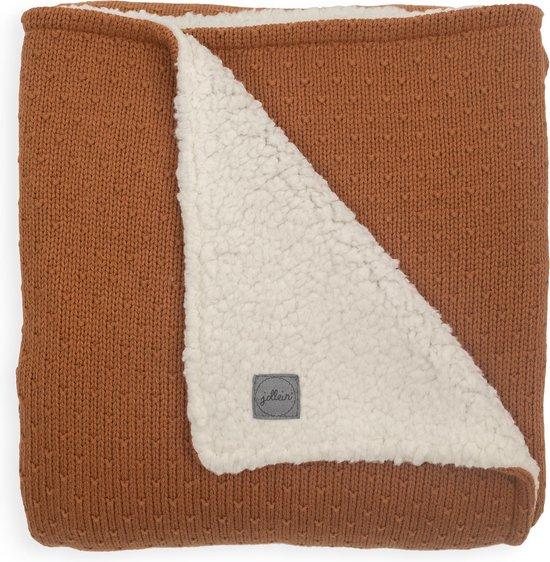 Product: Jollein Ledikantdeken - Teddy Bliss knit -100 x 150 cm - Caramel, van het merk Jollein