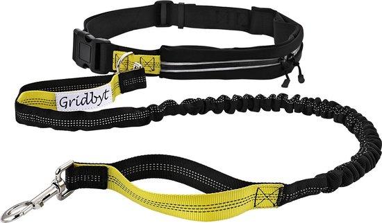 Gridbyt elastische hondenriem – hondenlijn 120cm lang– gordel verstelbaar 70 tot 120cm zwart/geel