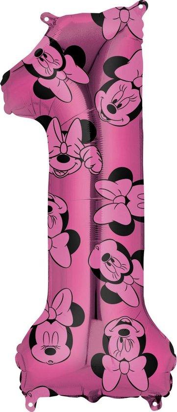Minnie Mouse Helium Ballon Cijfer 1 66cm leeg