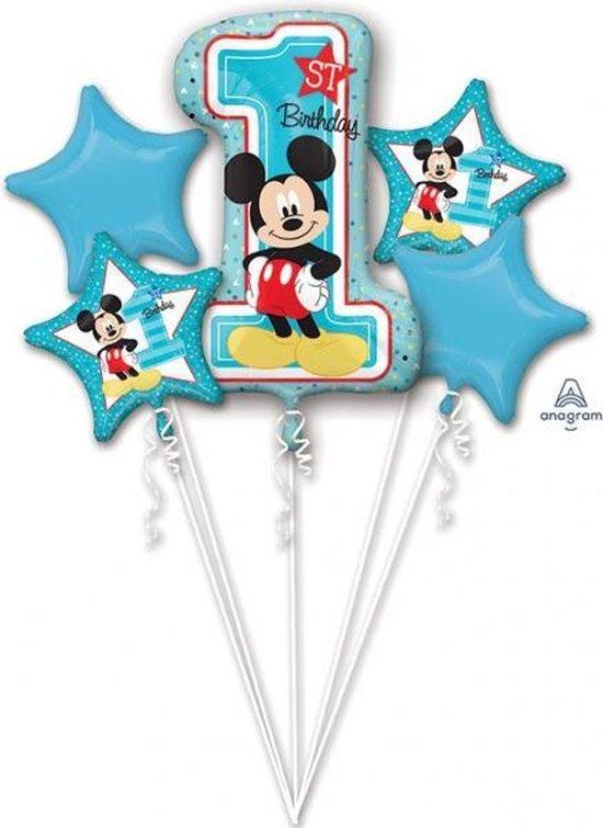 Mickey Mouse Helium Ballonnen 1 jaar set 5 delig