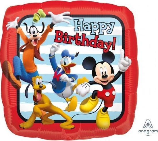 Mickey Mouse Helium ballon Happy Birthday vierkant 43cm leeg