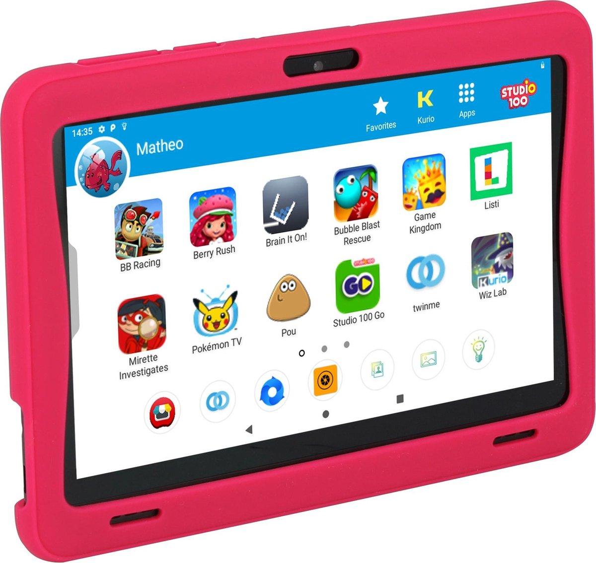 Kurio Tab Ultra Studio 100 – 16GB – Roze – veilig kindertablet – ouderlijk toezicht – beschermende bumper