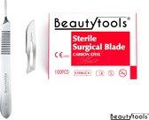 4. BeautyTools Set Scalpels met Bistouri Houder nr. 3 + Scalpel Mesjes nr. 10 (100 stuks) - Steriel Verpakt (BP-0645)