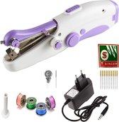 Deluxe Stitcher Pro -- PREMIUM Handnaaimachine met Adapter + 11 Reserve naalden en accessoires -- Mini naaimachine - Compact - Draadloos - Draagbare Reis Hand Naaimachine - Elektrisch of op Batterijen - Paars | Wit