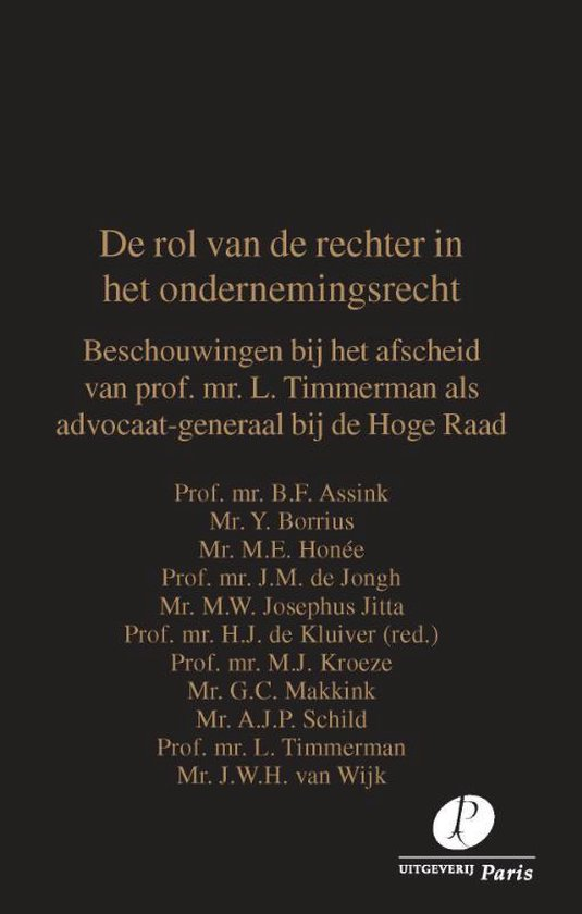 Boek cover De rol van de rechter in het ondernemingsrecht van B.F. Assink (Paperback)