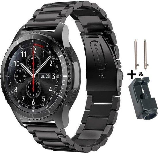 Zwart Metalen Bandje voor 22mm Smartwatches van (zie compatibele modellen) Samsung, Asus, LG, Kronoz, Seiko en Pebble – 22 mm black smartwatch strap - Gear S3 - LG Watch - Zenwatch - 4You Webventures
