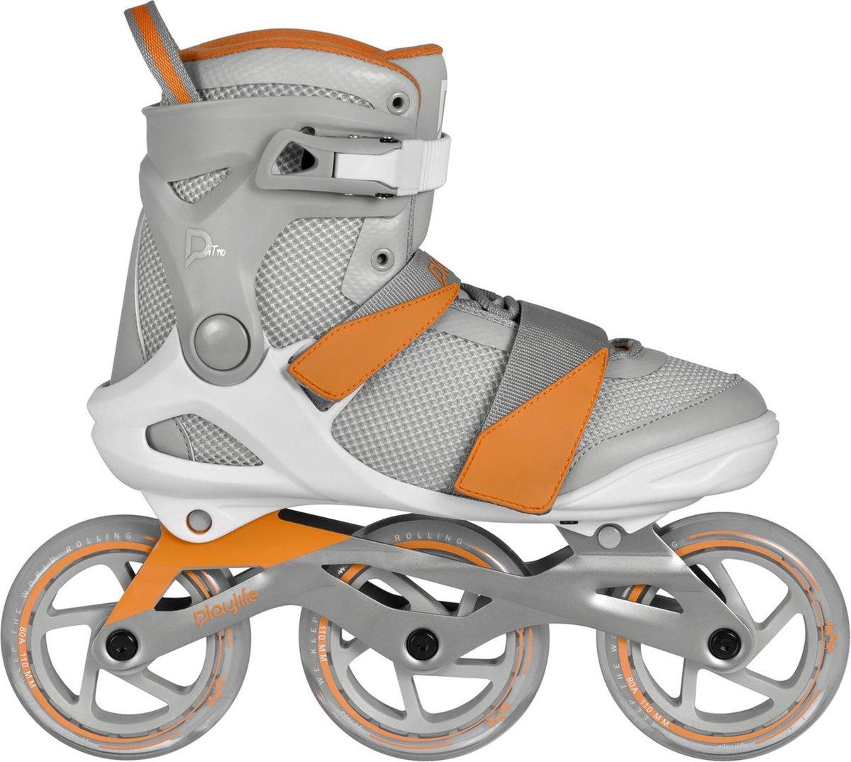 Playlife Inlineskates - Maat 37 - Unisex - grijs,oranje,wit