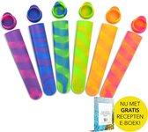 Kitchen Lab Co. Siliconen IJslolly Vormen set 6 stuks - Met GRATIS Recepten E-boek (NL) - Luxe IJsvormpjes Regenboog Kleuren - Waterijsjes Vormen - BPA vrij- IJsjes Maken - Siliconen Mallen voor IJslolly