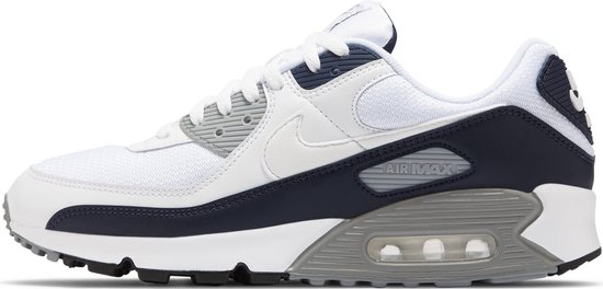 Nike Air Max 90 Heren Sneakers - White/White-Particle Grey-Obsidian - Maat 43