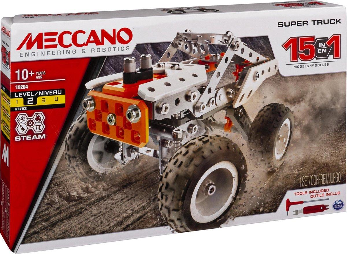 Meccano, 15-in-1 Super Truck, S.T.E.A.M.-bouwset, vanaf 10 jaar en ouder