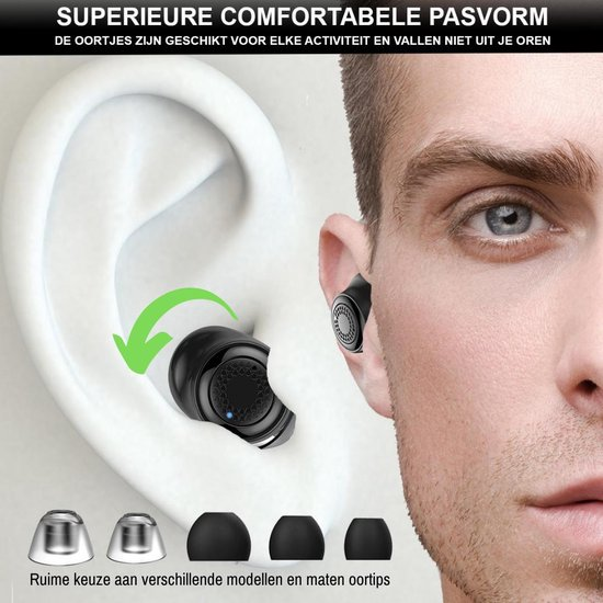 Picolet Beat Icons Volledig Draadloze Oordopjes in-Ear Oortjes Draadloos Bluetooth Earpods IPX5 Wireless Sport Earbuds met HD Geluid & Ultra Compact Design voor Apple iPhone Samsung Android Huawei