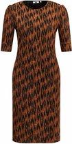 WE Fashion Dames jurk met ingeweven dessin en pofmouwen - Maat M